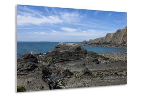 Rock Outcrops at Hartland Quay, North Cornwall, England, United Kingdom, Europe-James Emmerson-Metal Print
