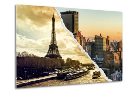 Dual Torn Posters Series - Paris - New York-Philippe Hugonnard-Metal Print