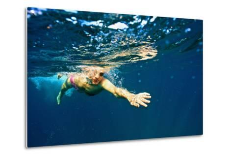 A Man Swims in the Caribbean Sea-Heather Perry-Metal Print