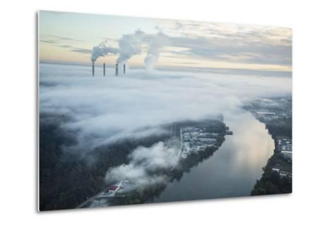 Steam and Smoke Rise from the Cooling Towers and Chimneys of a Power Plant-Robb Kendrick-Metal Print