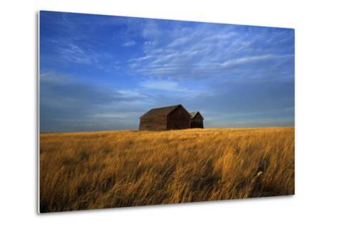 Old Wooden Barns in a Field-Aaron Huey-Metal Print