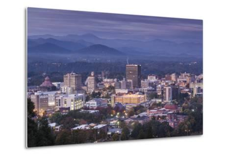 USA, North Carolina, Asheville, Elevated City Skyline-Walter Bibikow-Metal Print