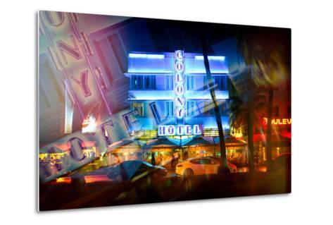 Instants of Series - Miami Beach Art Deco District - The Colony Hotel by Night - Ocean Drive - Flor-Philippe Hugonnard-Metal Print