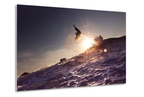 A Young Man Surfing on the Outer Banks of North Carolina-Chris Bickford-Metal Print