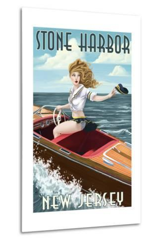 Stone Harbor, New Jersey - Boating Pinup-Lantern Press-Metal Print