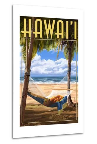 Hammock Scene - Hawaii-Lantern Press-Metal Print