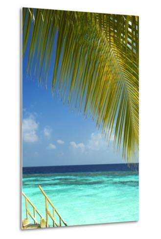 Wooden Stairs Out to Tropical Sea, Maldives, Indian Ocean, Asia-Sakis Papadopoulos-Metal Print
