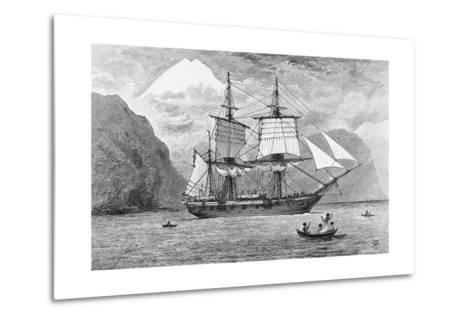 HMS Beagle in Straits of Magellan--Metal Print