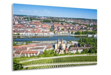 View over Wurzburg from Fortress Marienberg, Franconia, Bavaria, Germany, Europe-Michael Runkel-Metal Print