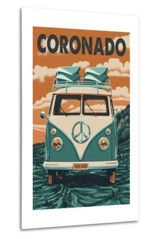 Coronado, California - VW Van-Lantern Press-Metal Print