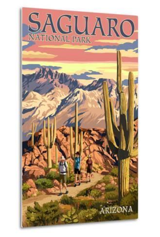 Saguaro National Park, Arizona - Hiking Scene-Lantern Press-Metal Print