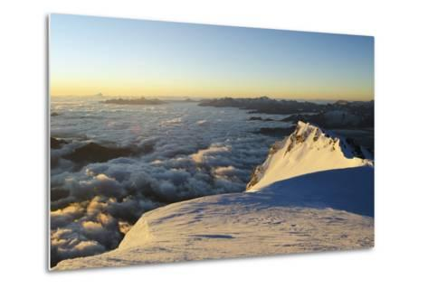 Sunrise from Summit of Mont Blanc, 4810M, Haute-Savoie, French Alps, France, Europe-Christian Kober-Metal Print