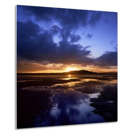 Sunset over Scrabo Tower on Strangford Lough-Chris Hill-Metal Print