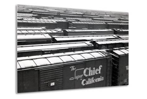 Railroad Boxcars in Rail Yard, Chicago, Illinois, USA, Ca. 1950--Metal Print