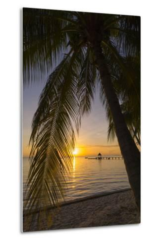 Over-The-Water Bungalows Framed by at Palm Tree at a Tropical Resort at Sunset-Sergio Pitamitz-Metal Print