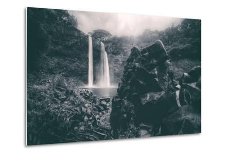 Moody Wailua Falls in Black and White, Kauai Hawaii-Vincent James-Metal Print