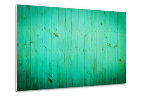 Green Wood Background. Close-Up View of Old Wood Wall Colored in Green.-Madredus-Metal Print