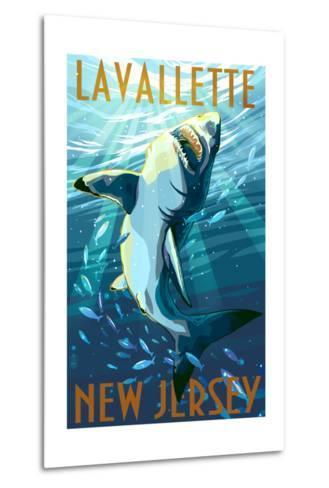 Lavallette, New Jersey - Great White Shark-Lantern Press-Metal Print