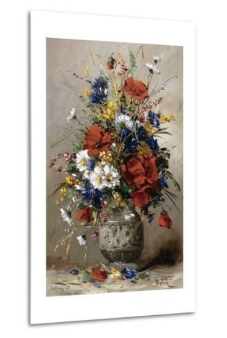 A Vase of Summer Flowers-Eugene Petit-Metal Print