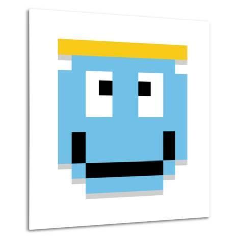 Vector Cute Cartoon Pixel Angel Face Isolated-Aratehortua-Metal Print