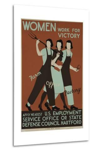 Women Work for Victory Poster--Metal Print