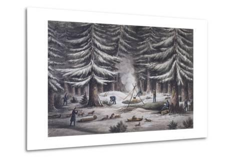Manner of Making a Resting Place on a Winter's Night-Edward Finden-Metal Print
