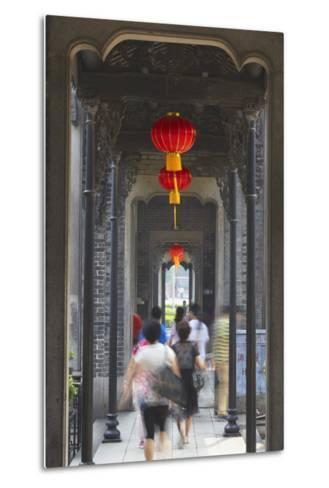 People Walking Along Corridor at Chen Clan Academy, Guangzhou, Guangdong, China, Asia-Ian Trower-Metal Print