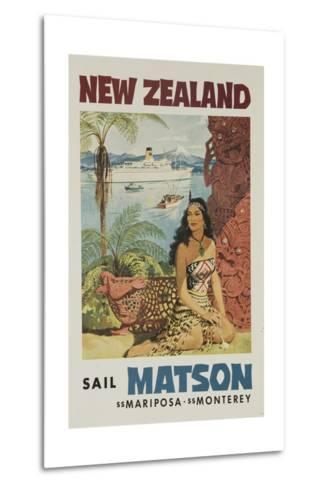 Matson Lines Travel Poster, New Zealand--Metal Print