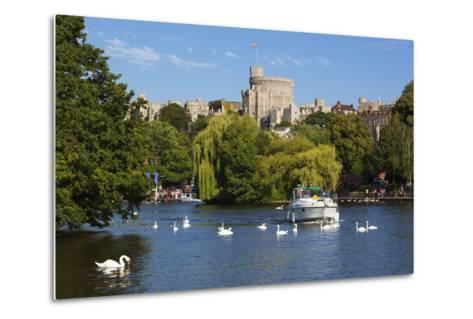 Windsor Castle and River Thames, Windsor, Berkshire, England, United Kingdom, Europe-Stuart Black-Metal Print