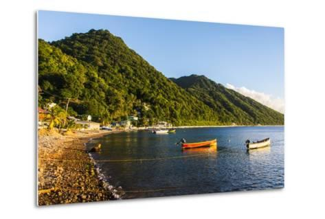 Fishing Boats in the Bay of Soufriere, Dominica, West Indies, Caribbean, Central America-Michael Runkel-Metal Print