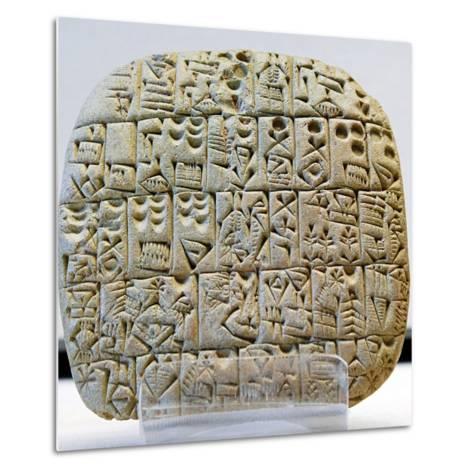 Sumerian Contract Written in Pre-Cuneiform Script--Metal Print