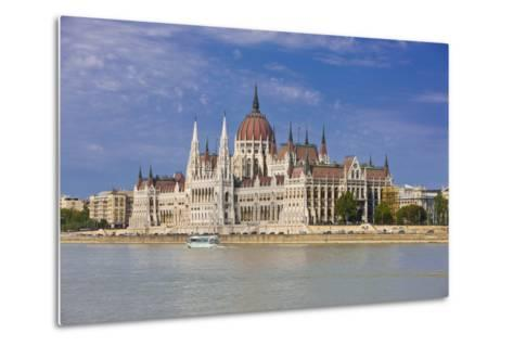 Parliament on the Banks of the River Danube, Budapest, Hungary, Europe-Michael Runkel-Metal Print