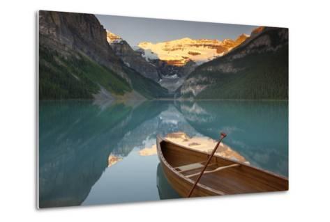 Canoe on Lake Louise at Sunrise-Miles Ertman-Metal Print