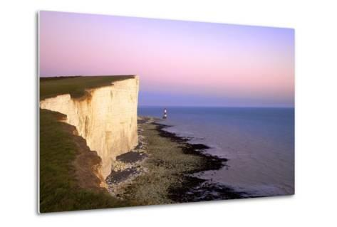 Beachy Head and Beachy Head Lighthouse at Sunset, East Sussex, England, United Kingdom, Europe-Neil Farrin-Metal Print
