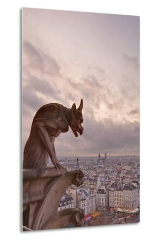 A Gargoyle on Notre Dame De Paris Cathedral Looks over the City, Paris, France, Europe-Julian Elliott-Metal Print