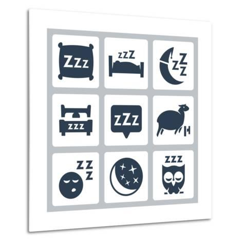 Vector Isolated Sleep Concept Icons Set: Pillow, Bed, Moon, Sheep, Owl, Zzz-GreyJ-Metal Print