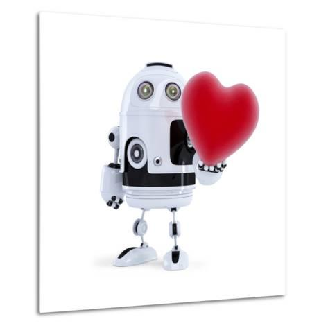 Cute Robot Holding A Big Red Heart. Isolated-Kirill_M-Metal Print