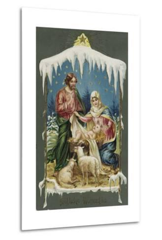 Merry Christmas Postcard with Nativity Scene--Metal Print