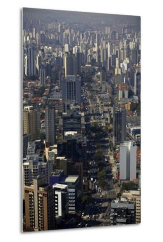 View over Sao Paulo Skyscrapers and Traffic Jam from Taxi Helicopter-Olivier Goujon-Metal Print