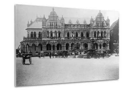 Exterior of Large Bank with Carriages in Front--Metal Print