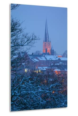 View of Town and Crooked Spire Church, Chesterfield, Derbyshire, England, United Kingdom, Europe-Frank Fell-Metal Print
