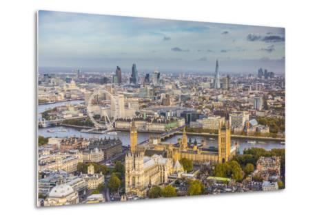 Aerial View from Helicopter, Houses of Parliament, River Thames, London, England-Jon Arnold-Metal Print
