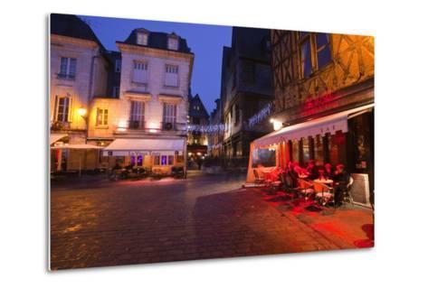 Place Plumereau in Vieux Tours on a Late December Evening, Tours, Indre-Et-Loire, France, Europe-Julian Elliott-Metal Print