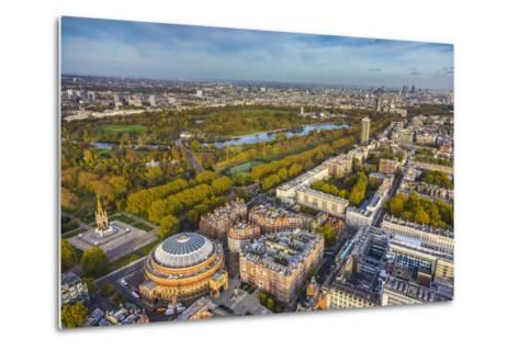 Aerial View from Helicopter,Royal Albert Hall and Hyde Park, London, England-Jon Arnold-Metal Print