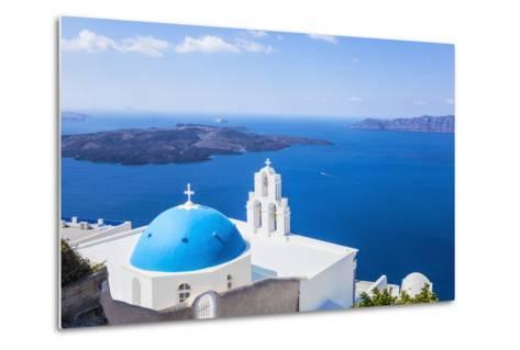 Blue Dome and Bell Tower Above Aegean Sea-Neale Clark-Metal Print