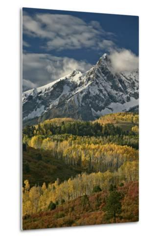Mears Peak with Snow and Yellow Aspens in the Fall-James Hager-Metal Print