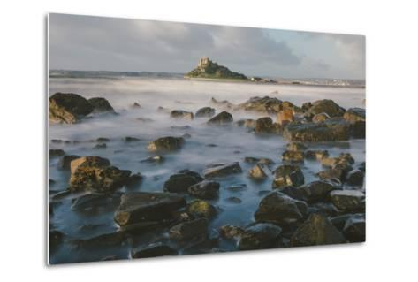 Rocky Shoreline and St. Michaels Mount, Early Morning, Cornwall, England, United Kingdom, Europe-Mark Doherty-Metal Print