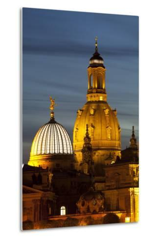 View of the Dome of the Frauenkirche at Night, Dresden, Saxony, Germany, Europe-Miles Ertman-Metal Print