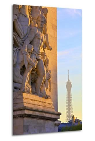 Arc De Triomphe with Eiffel Tower in the Background, Paris, France.-Neil Farrin-Metal Print