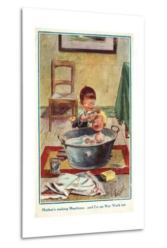 Boy Bathing His Little Brother--Metal Print